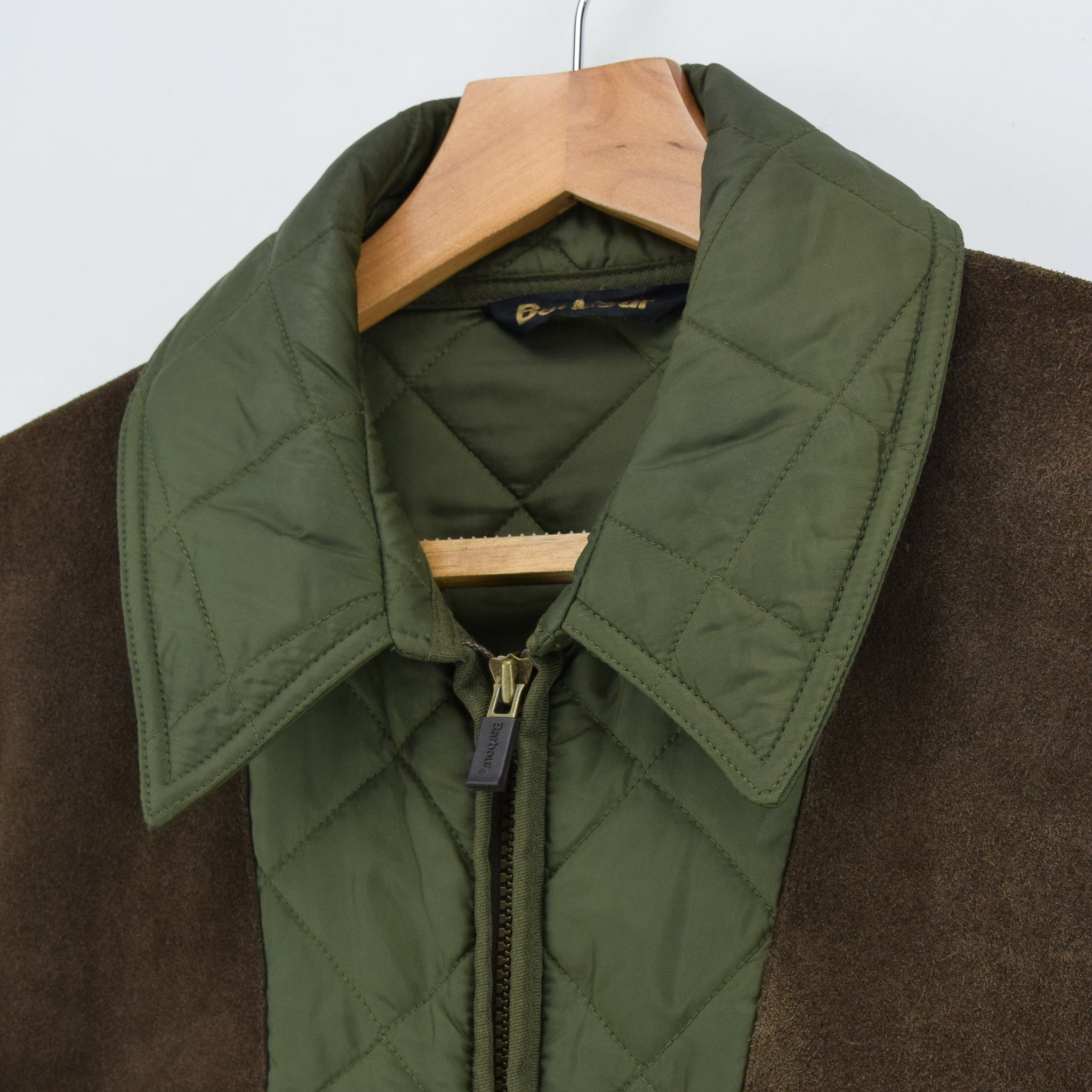 Barbour New Keeperwear Hunting Green Quilted Shooting Jacket Suede Patches M collar