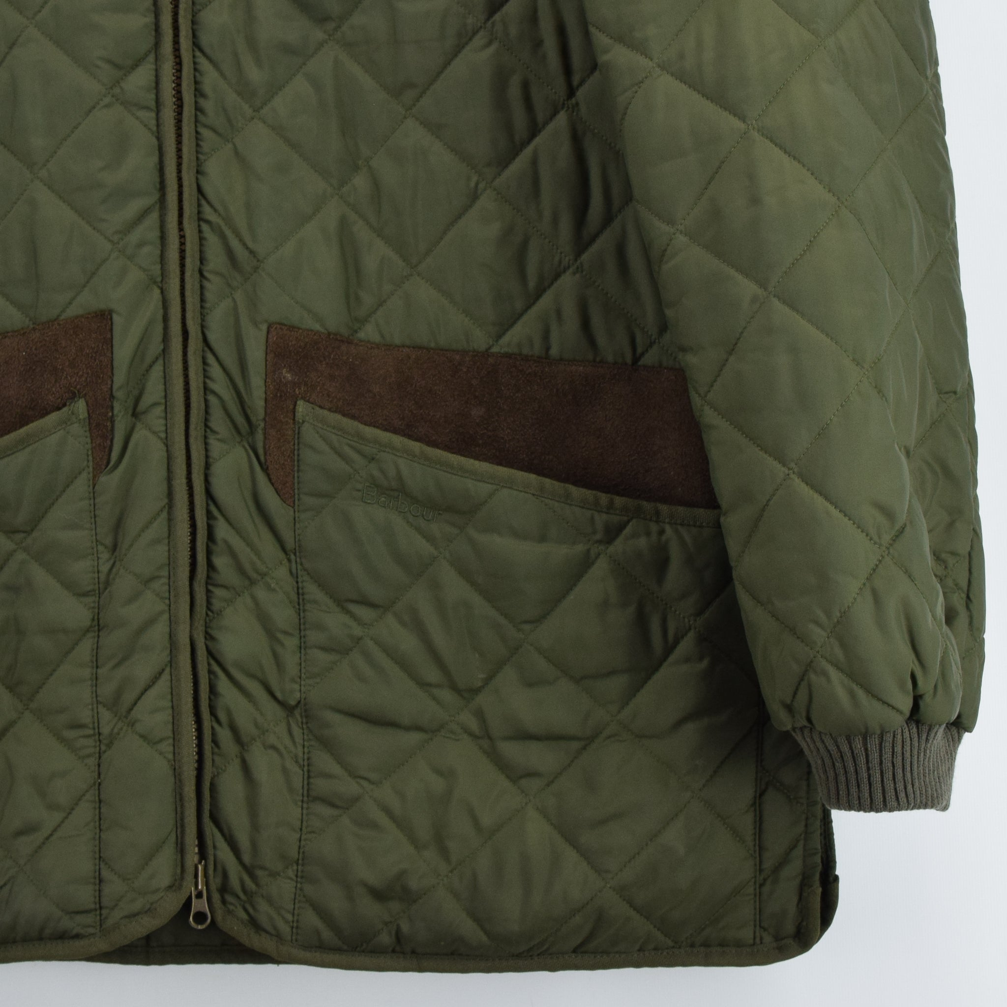Barbour New Keeperwear Hunting Green Quilted Shooting Jacket Suede Patches M front hem