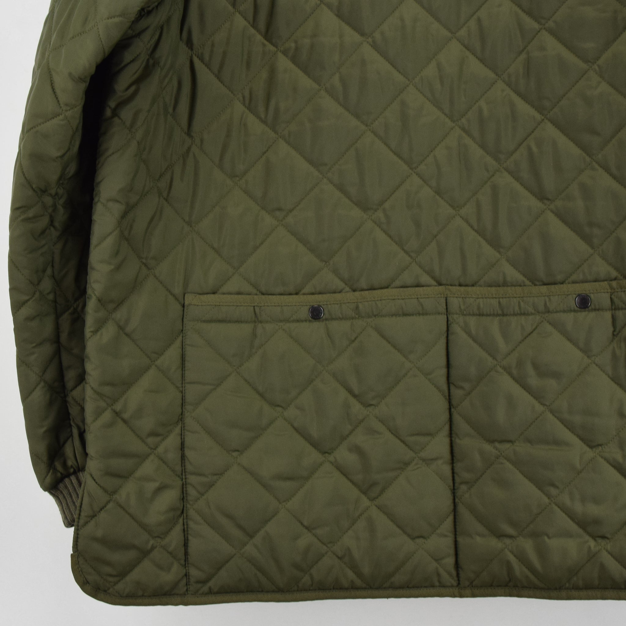 Barbour New Keeperwear Hunting Green Quilted Shooting Jacket Suede Patches M back hem