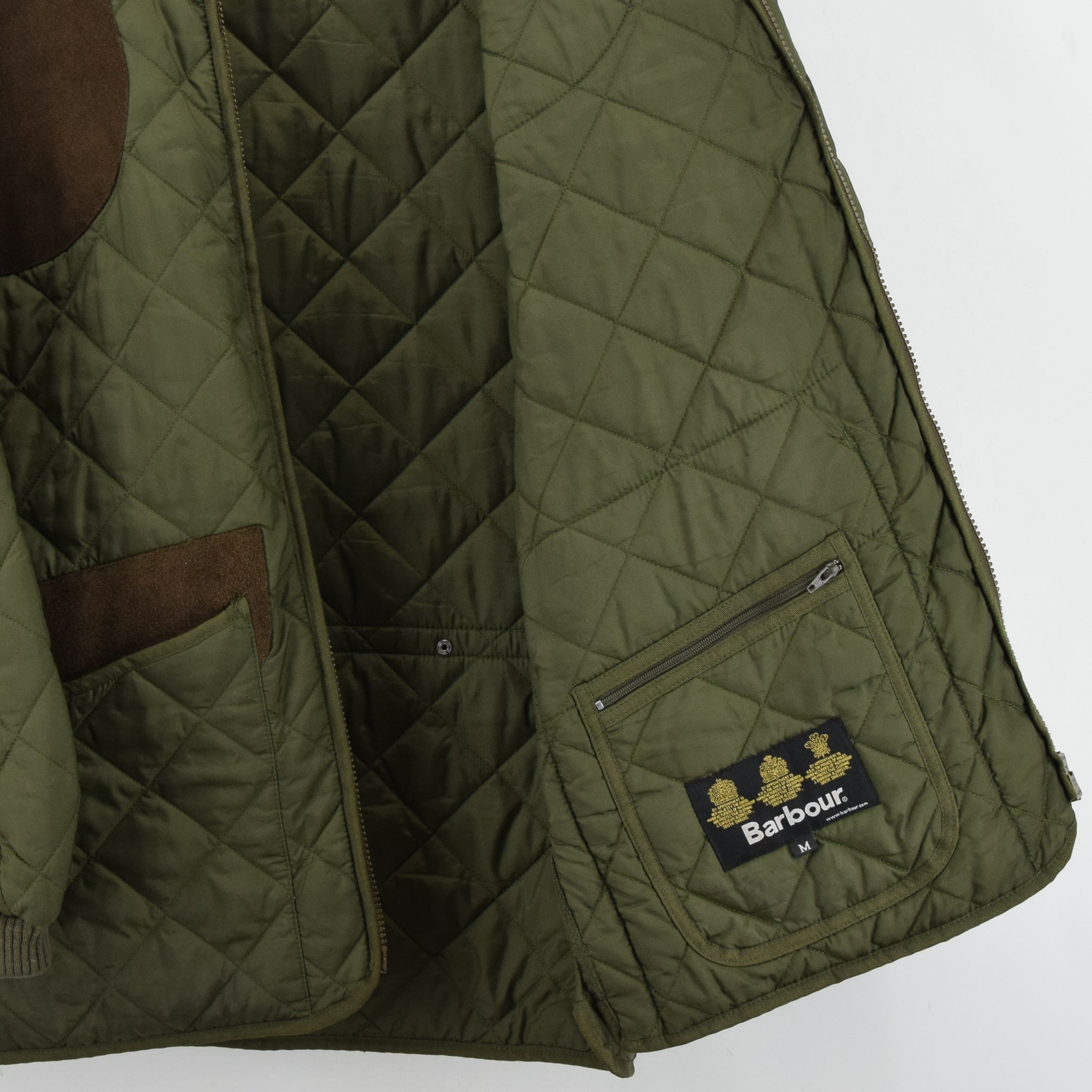Barbour New Keeperwear Hunting Green Quilted Shooting Jacket Suede Patches M internal pocket
