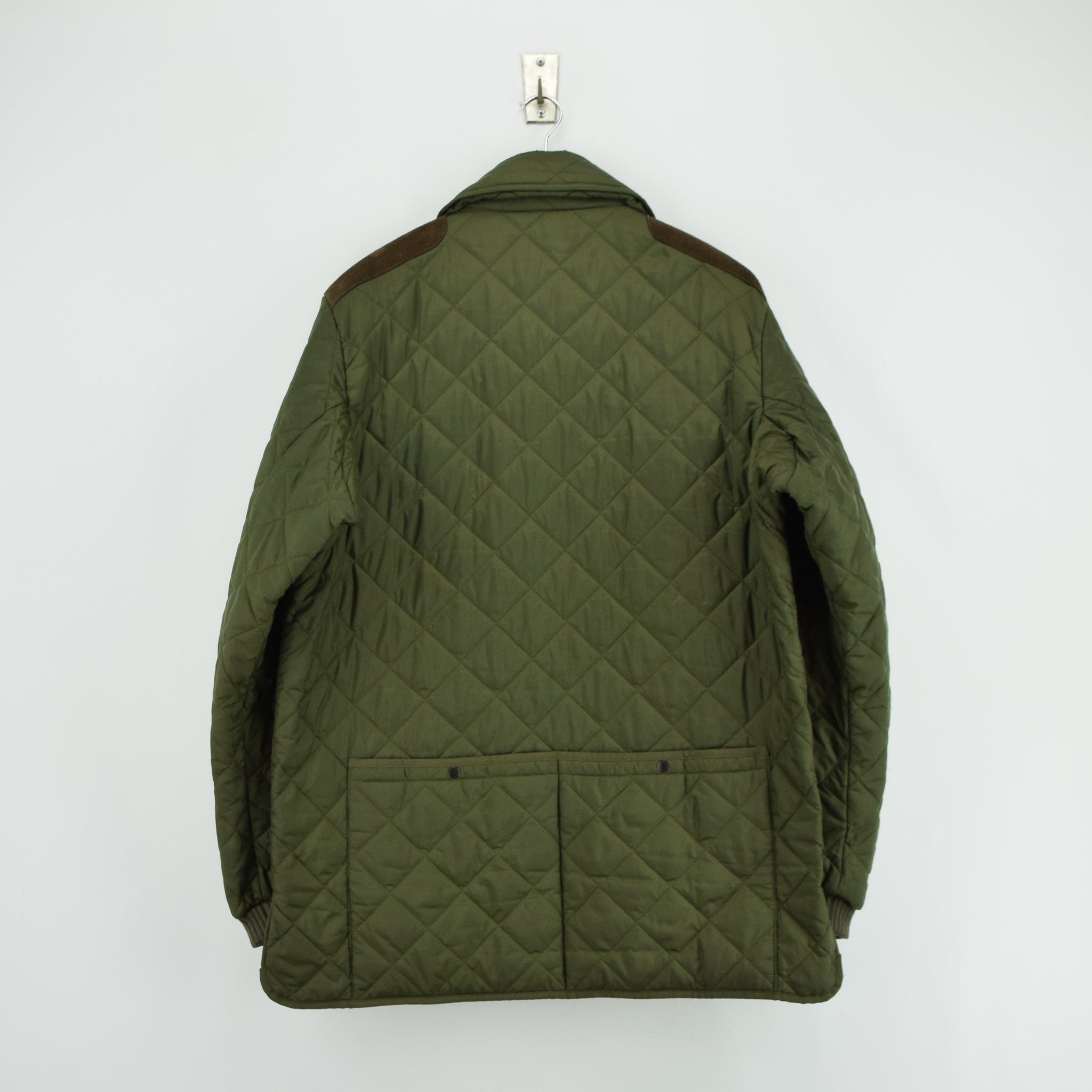 Barbour New Keeperwear Hunting Green Quilted Shooting Jacket Suede Patches M back