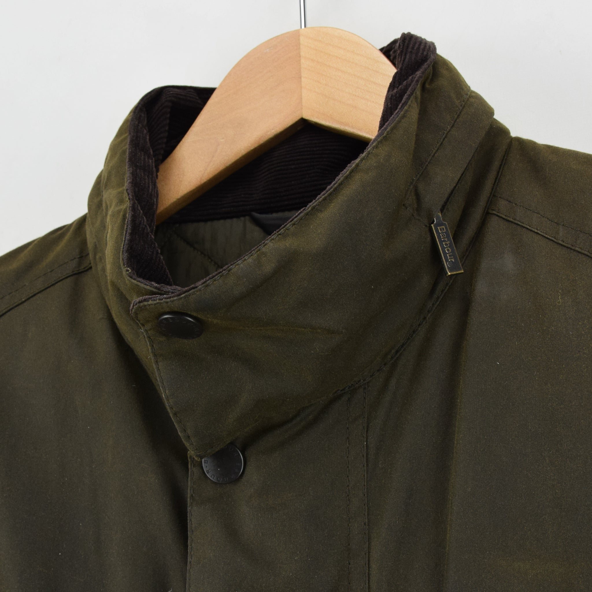 Barbour A342 Sapper Olive Green Wax Jacket Army Style Coat L collar