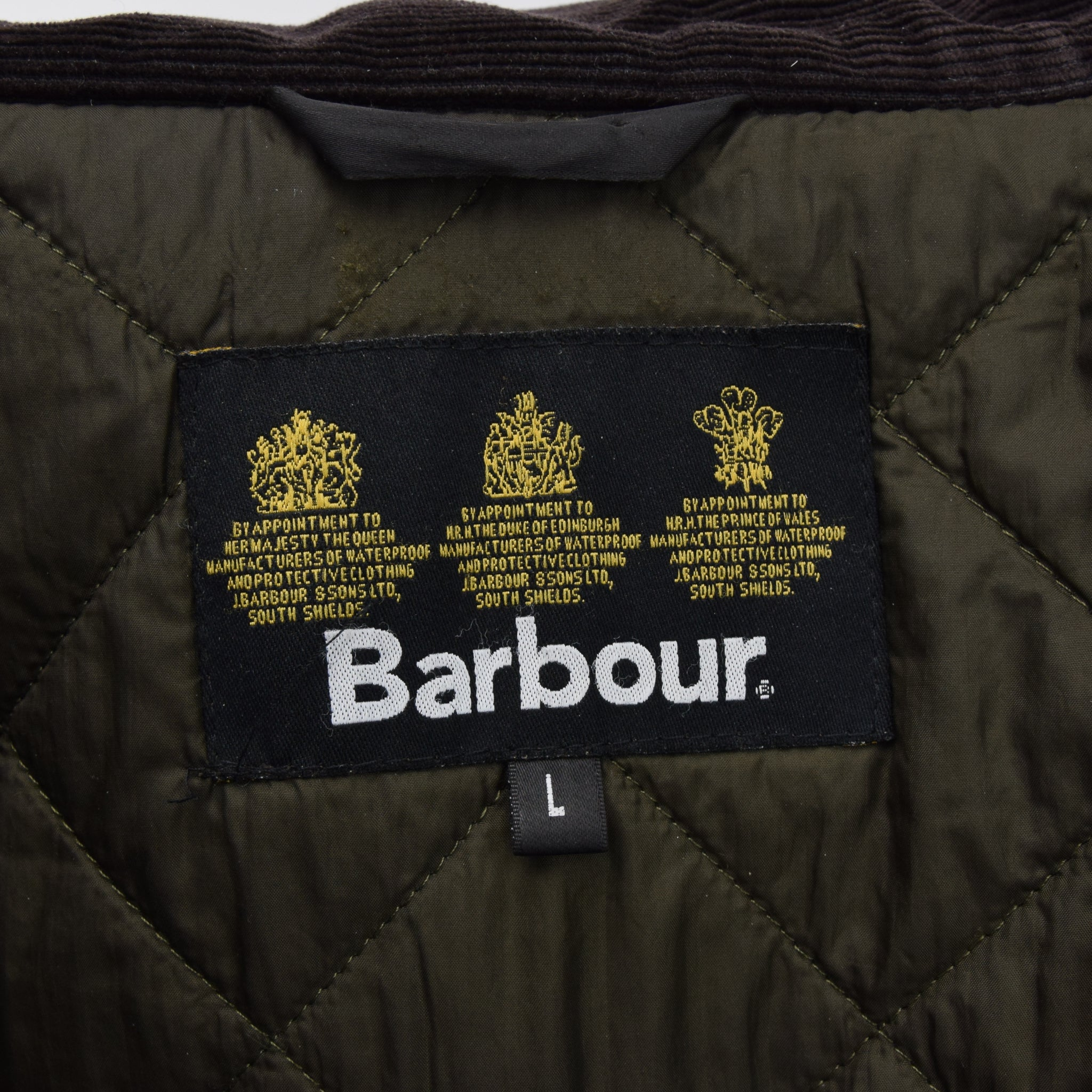 Barbour A342 Sapper Olive Green Wax Jacket Army Style Coat L label