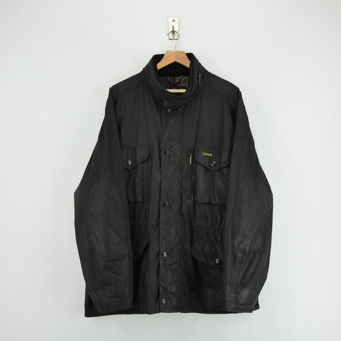 Barbour A983 Flyweight Sapper Black Wax Jacket Army Style Coat Made in UK XXL