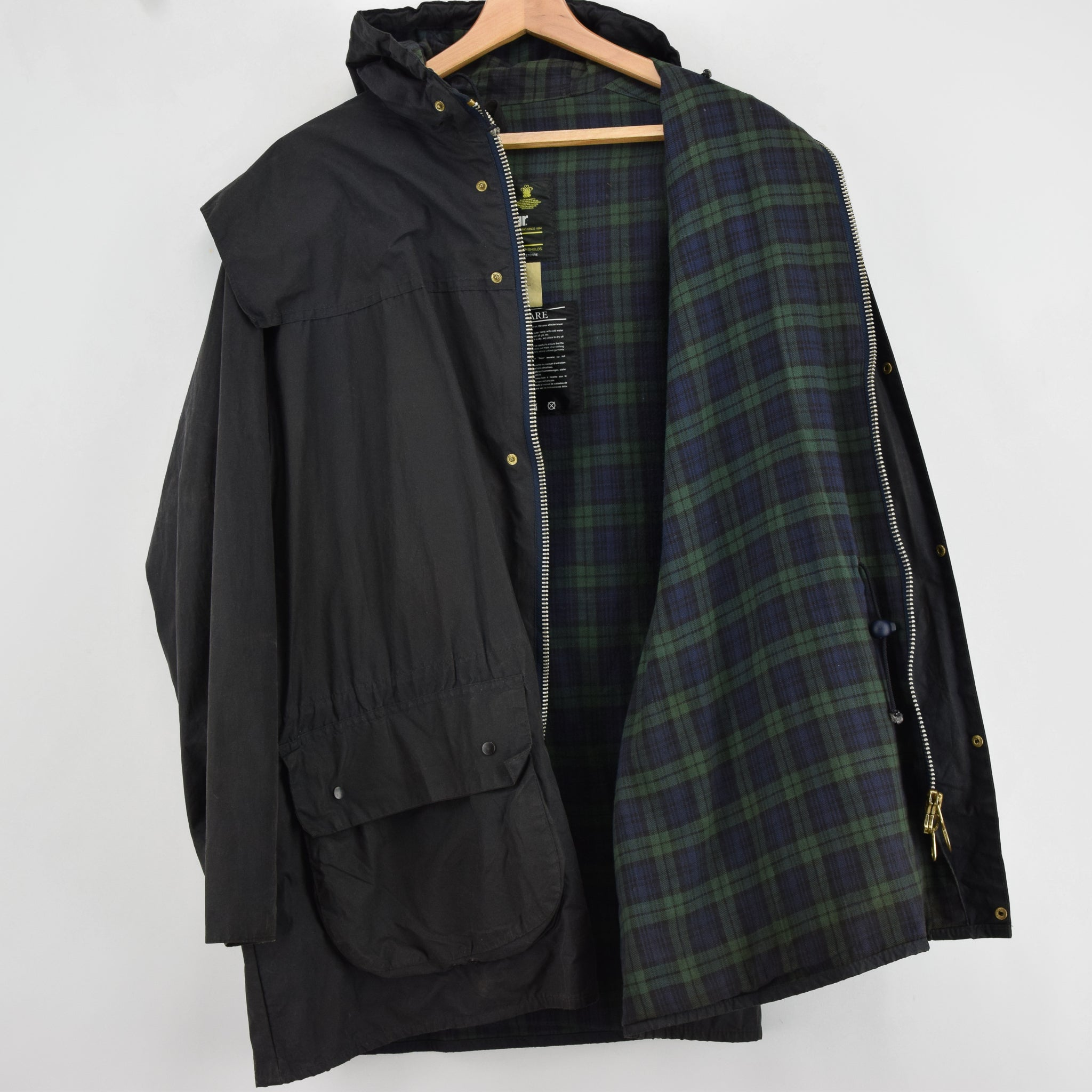 Vintage Barbour A6 Lined Durham Black Hooded Wax Jacket Coat Made In UK L lining