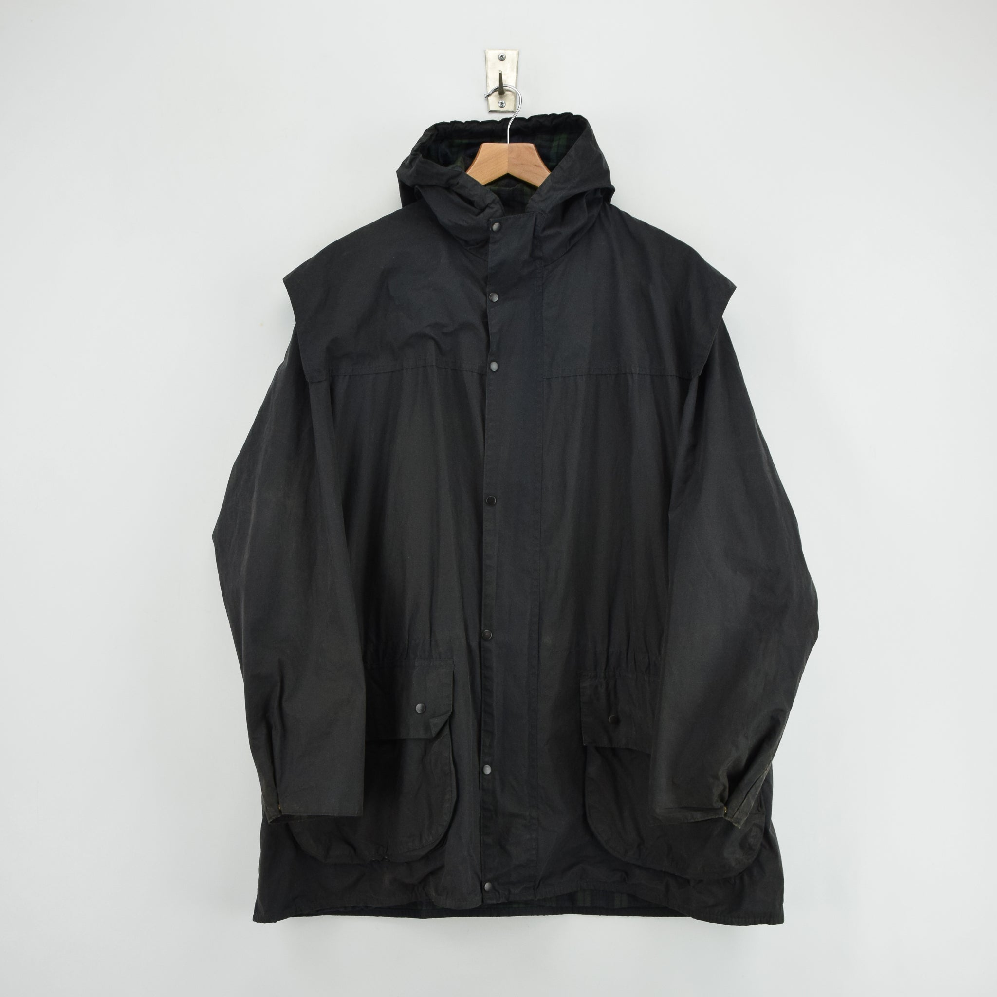 Vintage Barbour A6 Lined Durham Black Hooded Wax Jacket Coat Made In UK L front