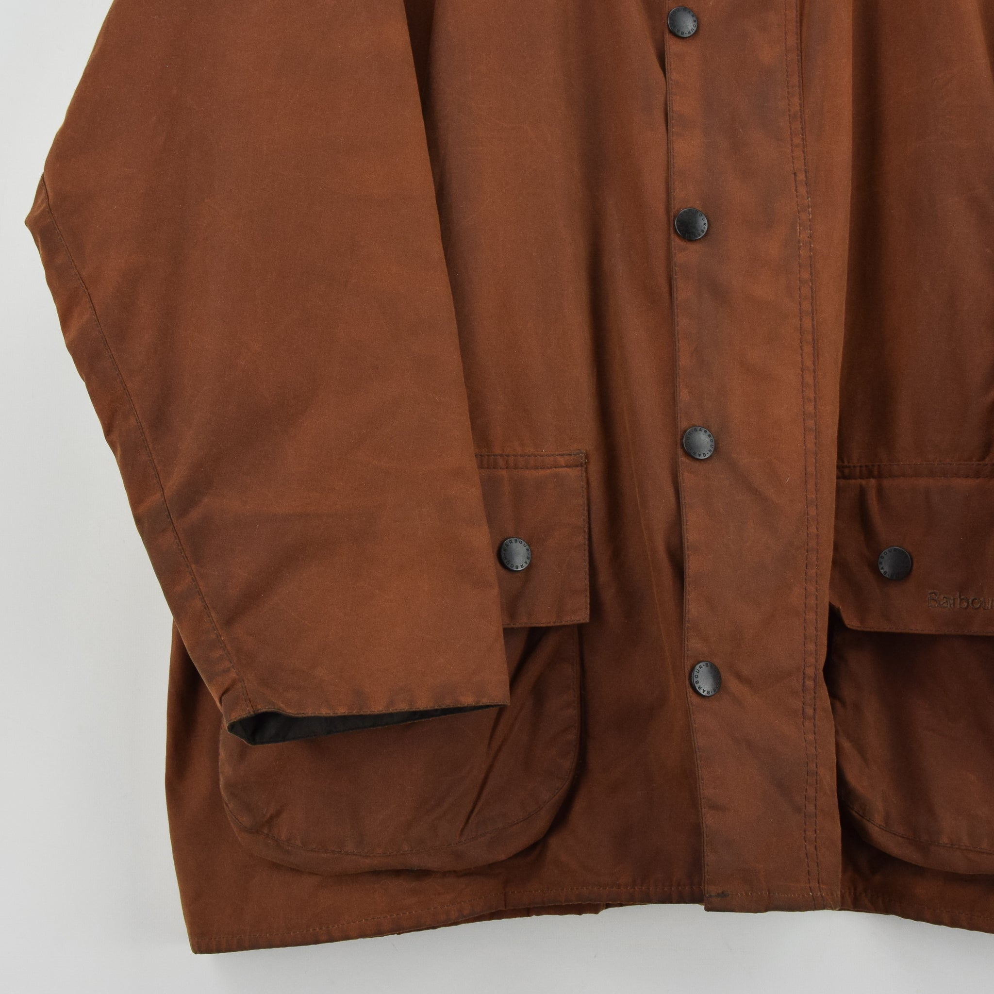 Vintage Barbour A831 Classic Beaufort Brown Wax Jacket Made In England XXL front hem