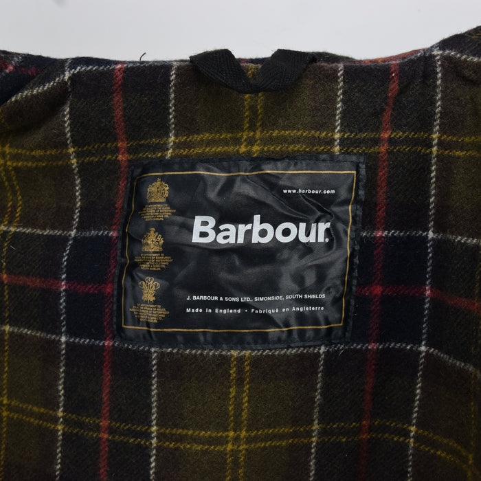 Vintage Barbour A871 Green Wax Hooded Duffle Coat Jacket Made in England M / L label
