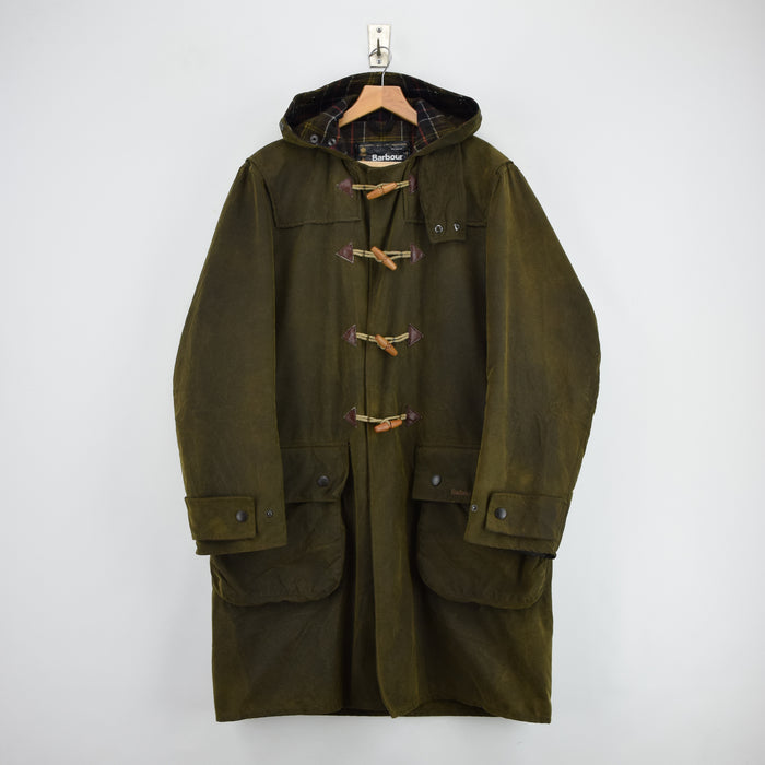 Vintage Barbour A871 Green Wax Hooded Duffle Coat Jacket Made in England M / L front