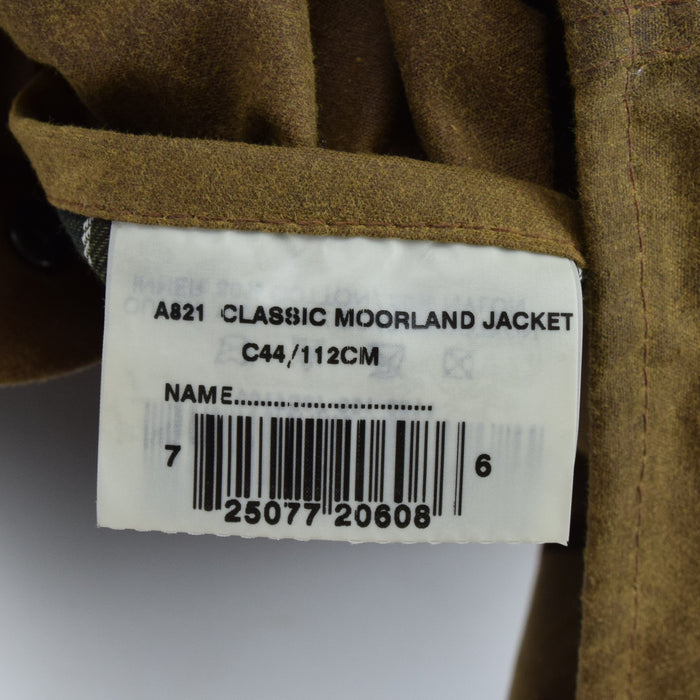 Vintage Barbour A821 Classic Moorland Brown Wax Jacket Coat Made In UK L / XL label