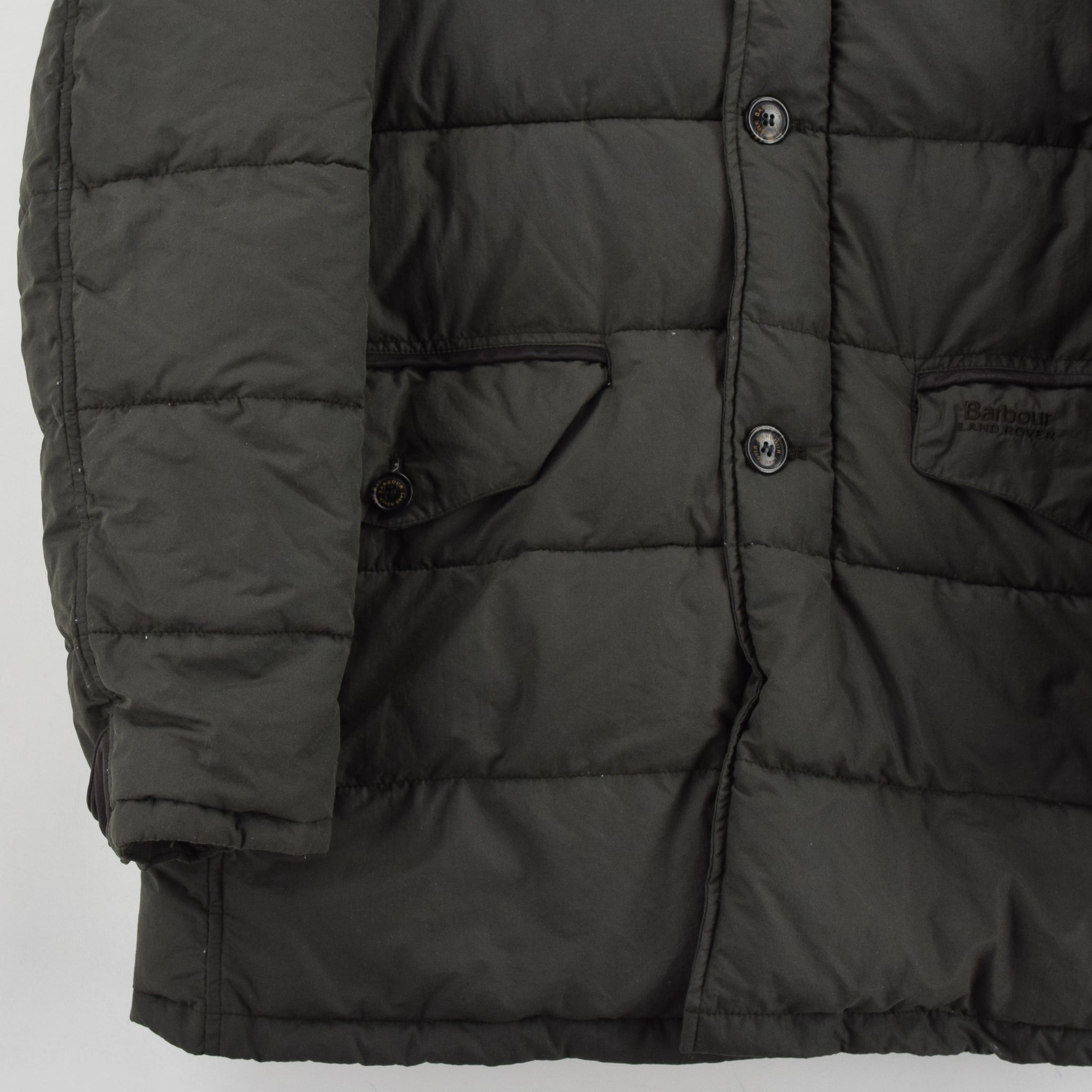 Barbour Land Rover Green Quilted Coat Fibre Down Jacket M front hem