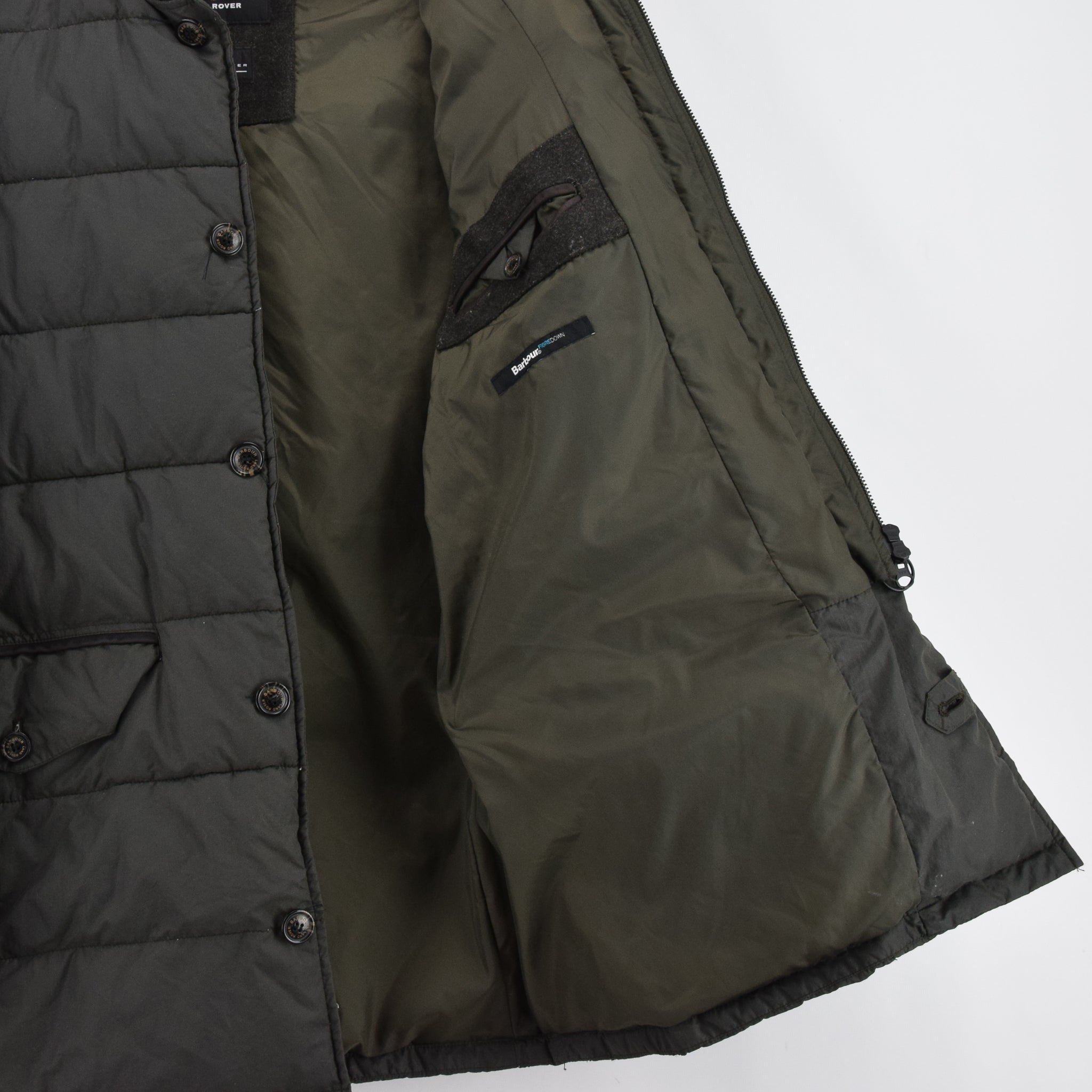 Barbour Land Rover Green Quilted Coat Fibre Down Jacket M lining