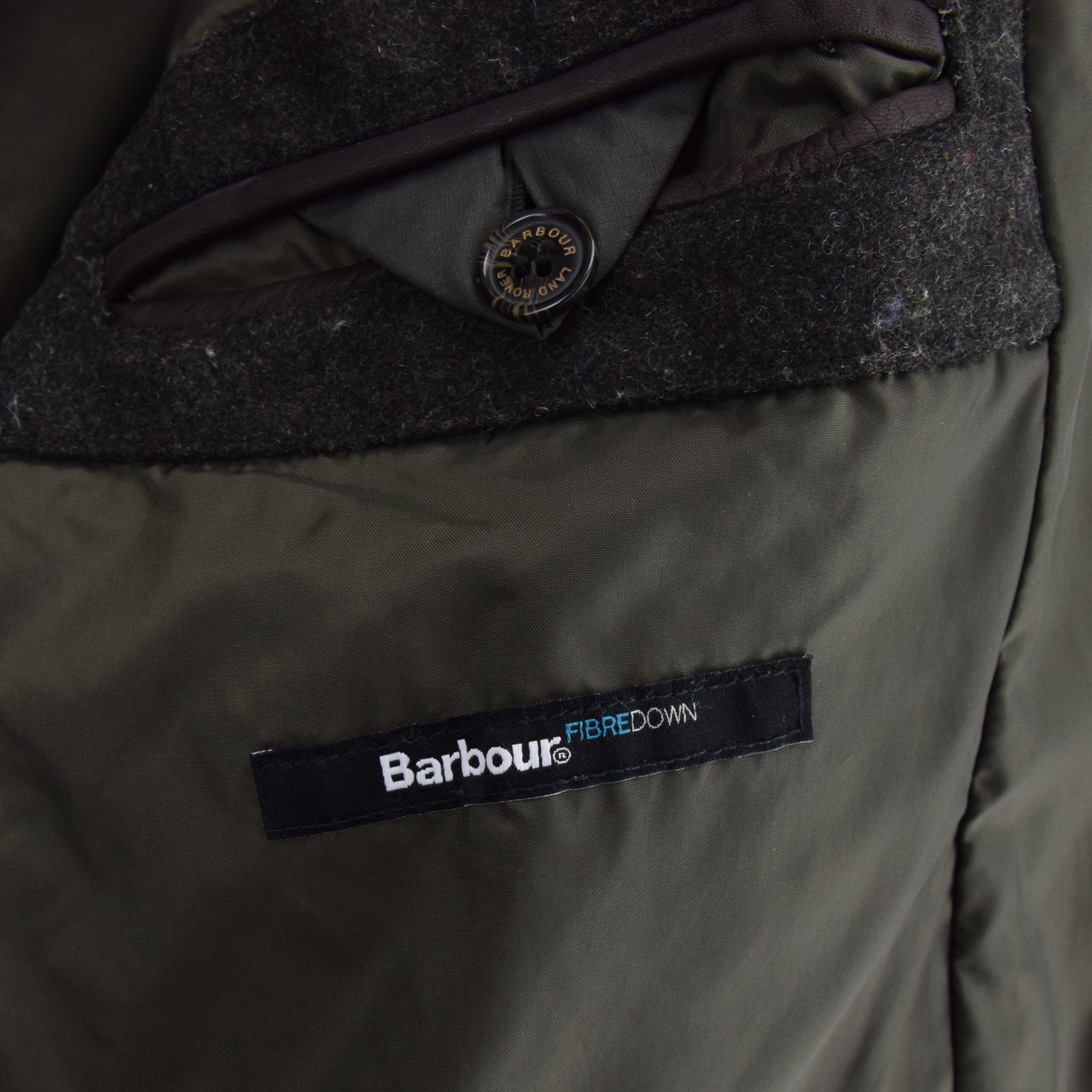 Barbour Land Rover Green Quilted Coat Fibre Down Jacket M label