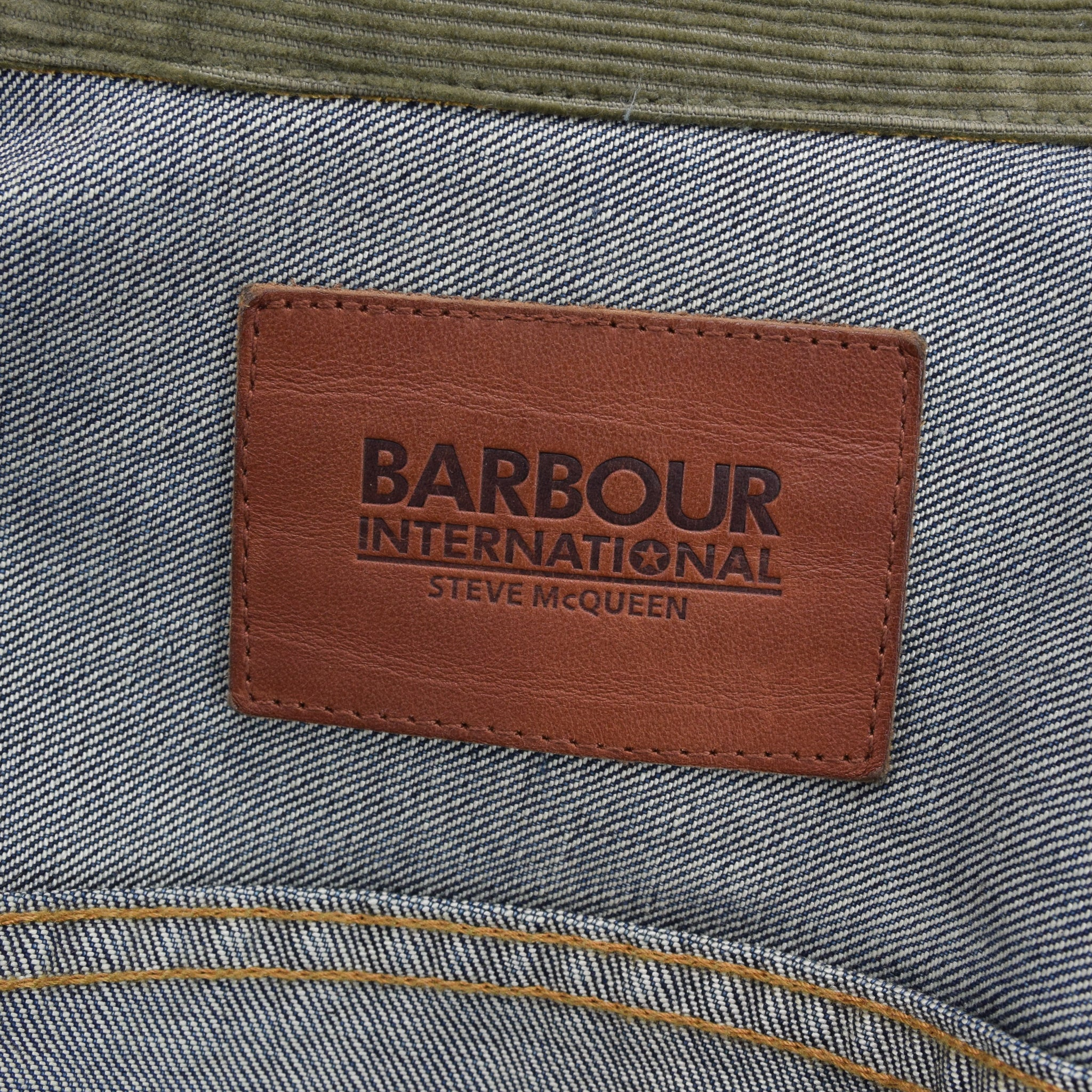 Barbour International Steve McQueen Type 2 Style Slim Fit Selvedge Denim Jacket S label