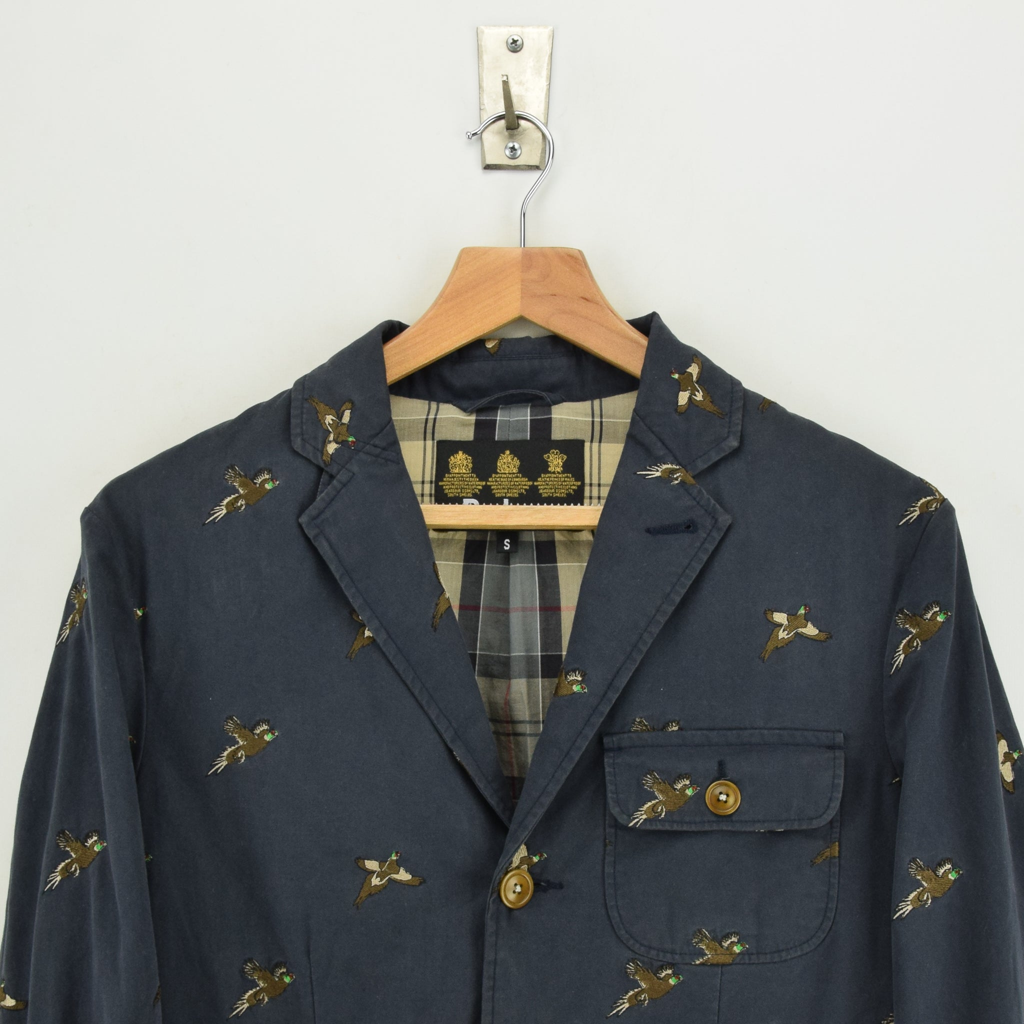 Barbour Navy Blue Cotton Blazer Jacket With Duck Print S chest