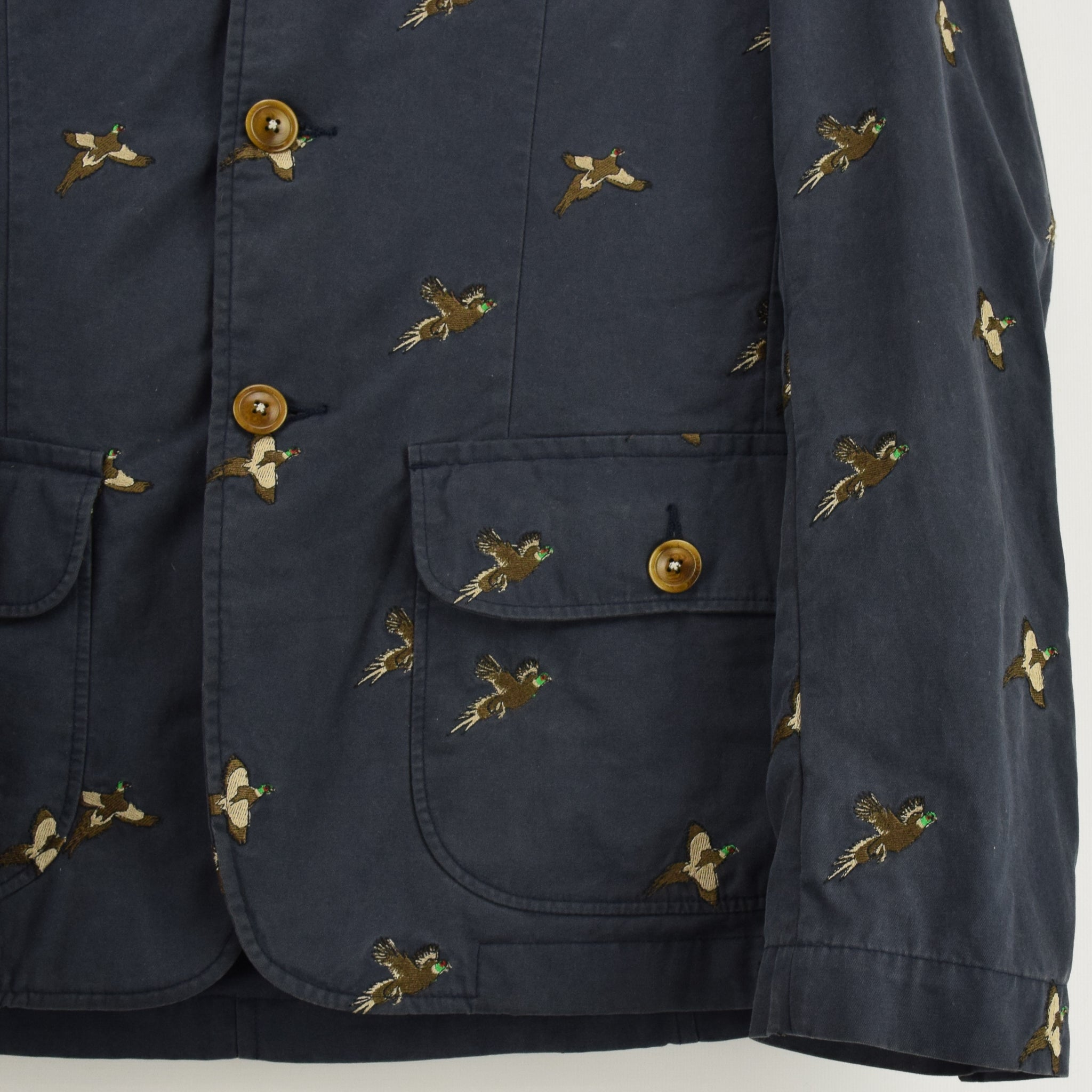 Barbour Navy Blue Cotton Blazer Jacket With Duck Print S front hem