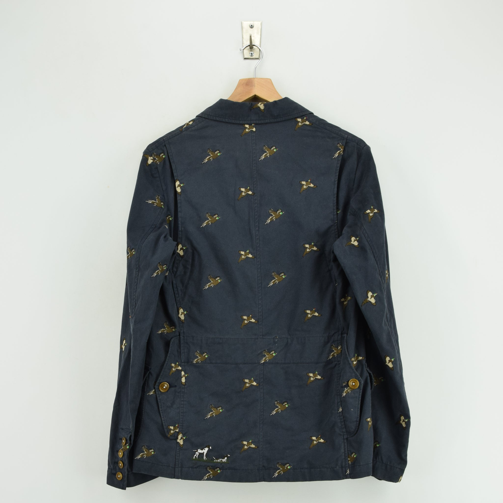 Barbour Navy Blue Cotton Blazer Jacket With Duck Print S back