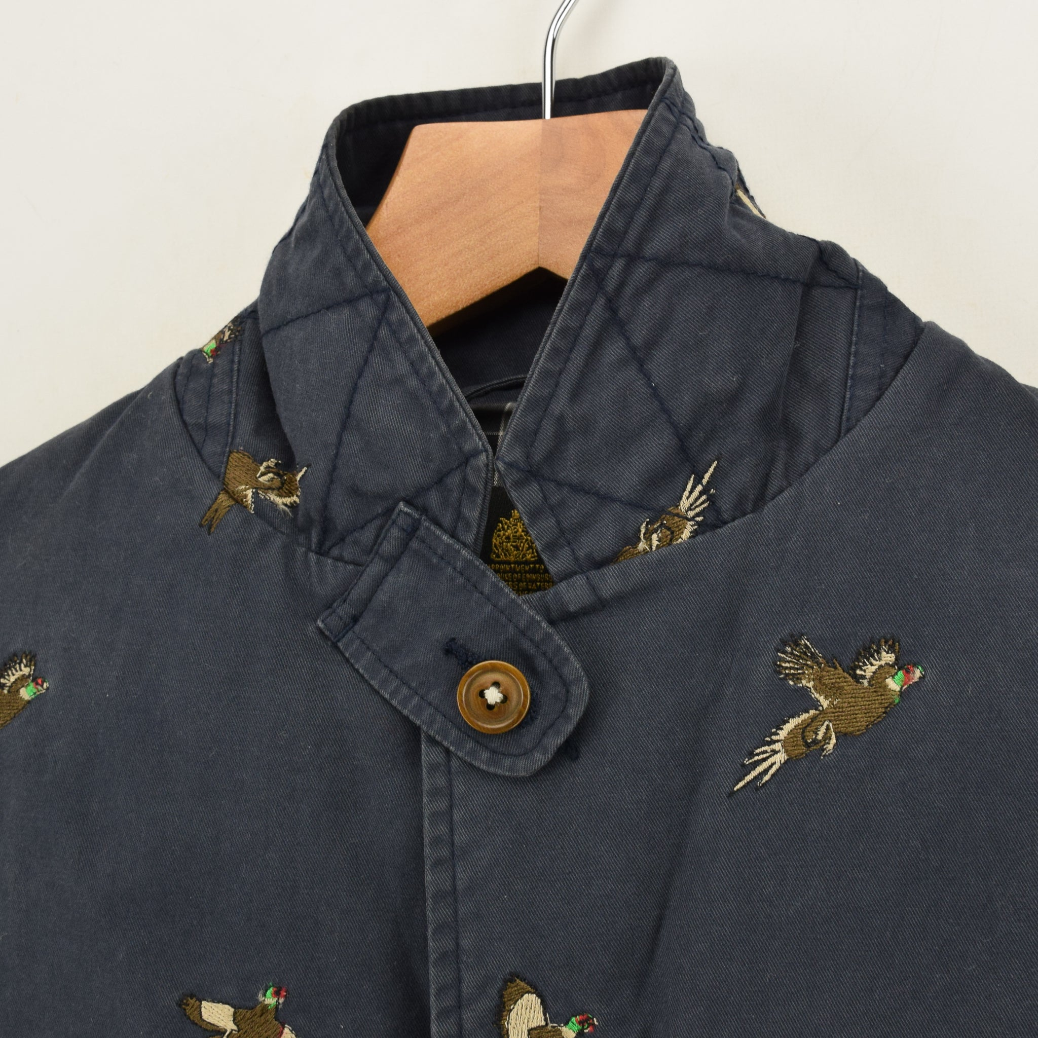 Barbour Navy Blue Cotton Blazer Jacket With Duck Print S collar