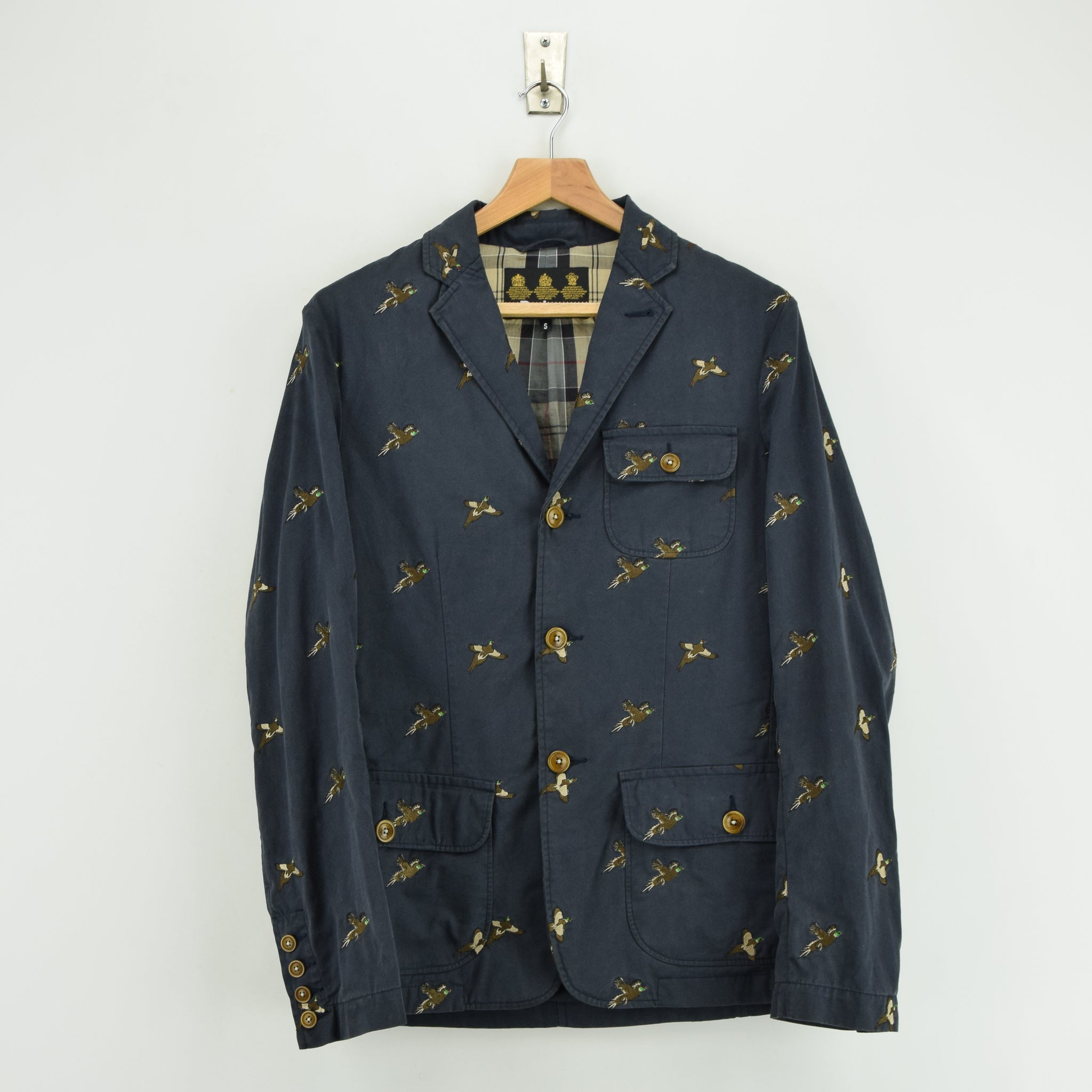 Barbour Navy Blue Cotton Blazer Jacket With Duck Print S front