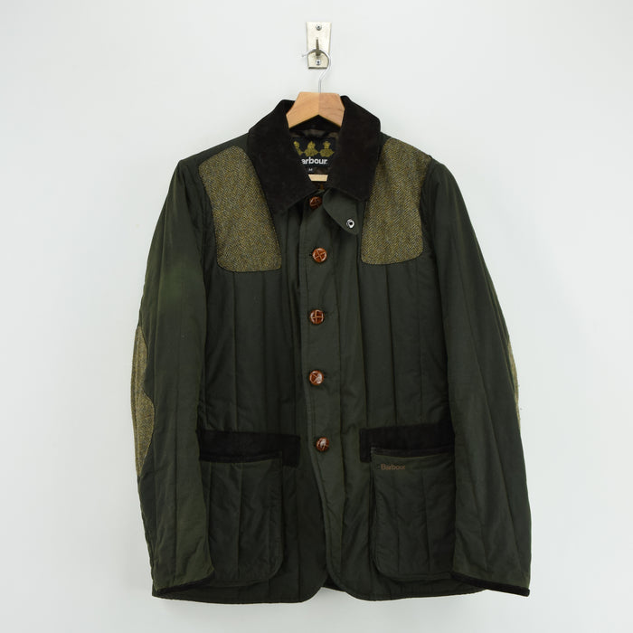 Barbour Beacon Brand Hunting Green Wax Shooting Jacket Wool Patches S / M front