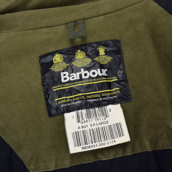 Vintage Barbour A951 Hooded Olive Green Nylon Outdoor Jacket Made In England XL label