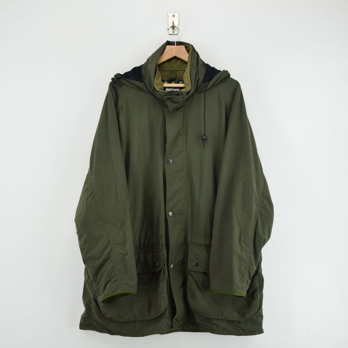 Vintage Barbour A951 Hooded Olive Green Nylon Outdoor Jacket Made In England XL FRONT