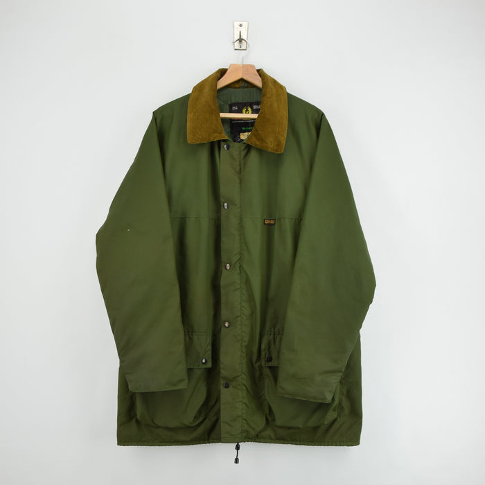 Vintage Belstaff Weaver Green Nylon Outdoor Jacket Quilt Lined Made in UK XL front