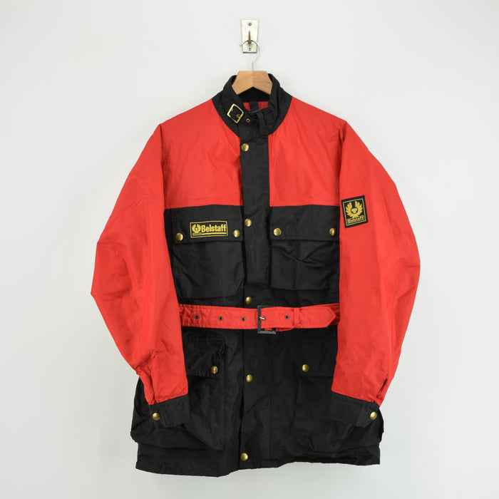 Vintage Belstaff Trialmaster 500 Red Black Nylon Biker Motorcycle Jacket M front