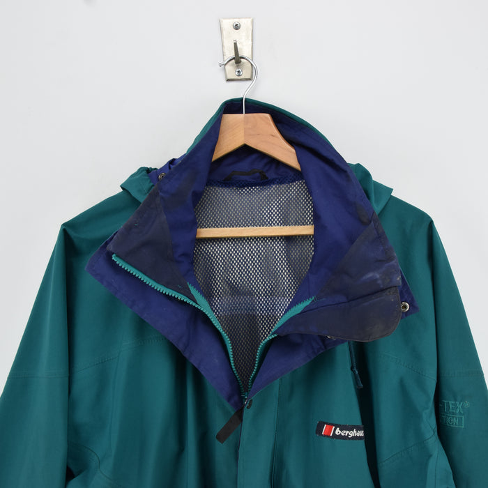 Vintage Berghaus Green Goretex Outdoor Jacket Made in Great Britain M collar