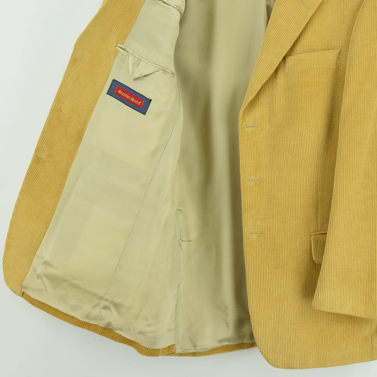 Vintage Austin Reed Sand 3 Button Cotton Corduroy Blazer Jacket 40 Reg lining internal pocket label