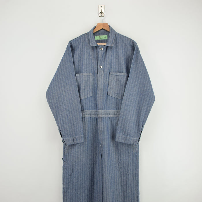 Vintage Universal Overall Workwear Coverall Blue Herringbone Boiler Suit L FRONT