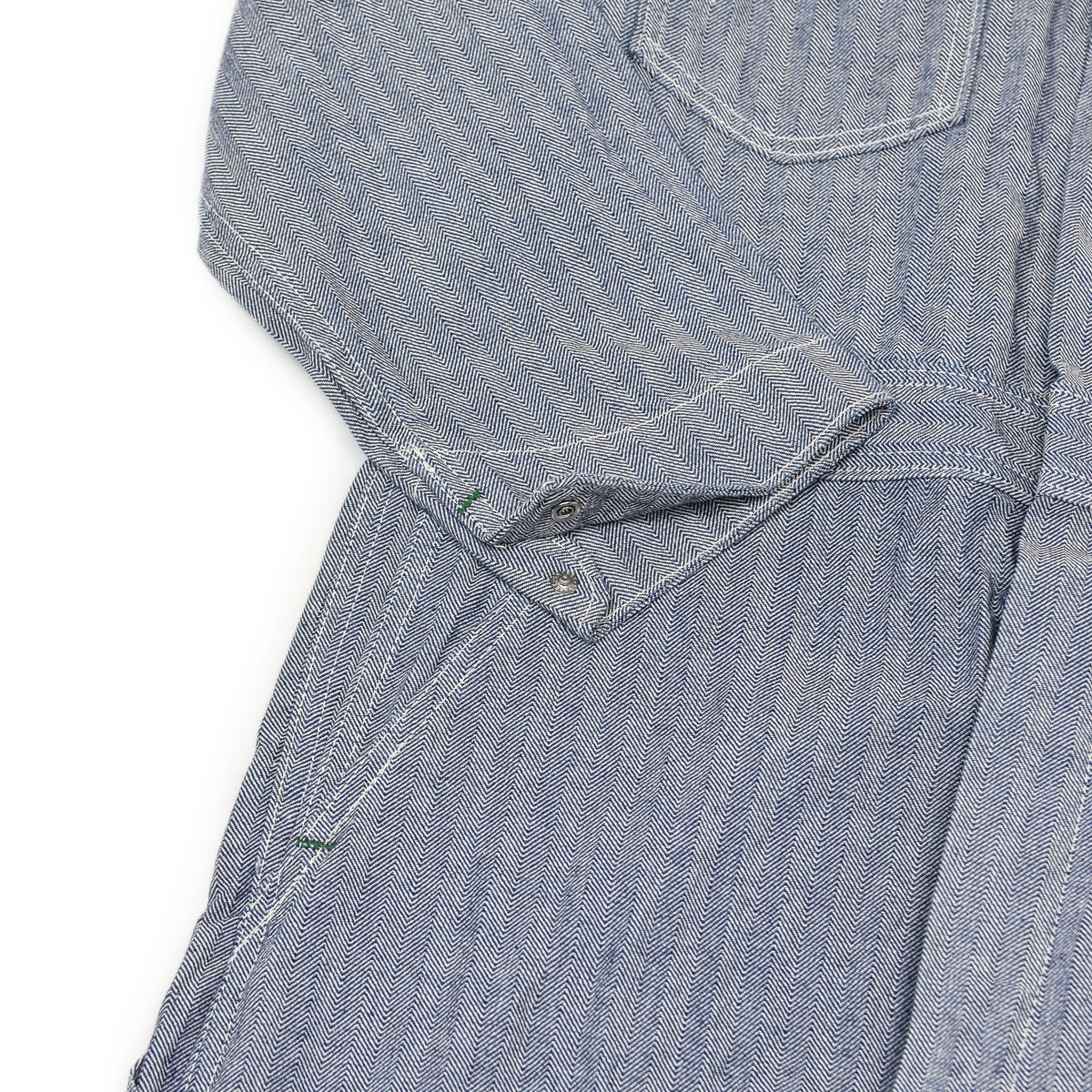 Deadstock Vintage Key Imperial Workwear Coverall Blue Herringbone Boiler Suit M cuff