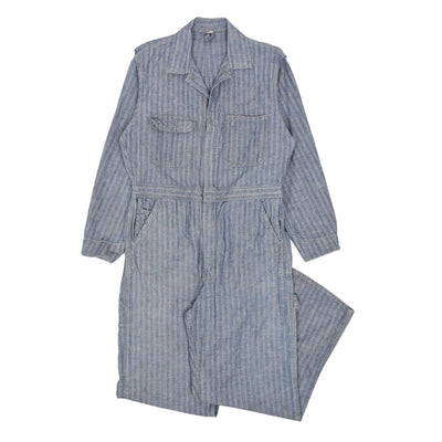 Vintage Big Mac USA Workwear Coverall Blue Herringbone Overalls Boiler Suit M front