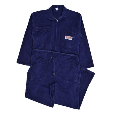Vintage Workwear Coverall Blue Cotton Twill Overalls Boiler Suit M front