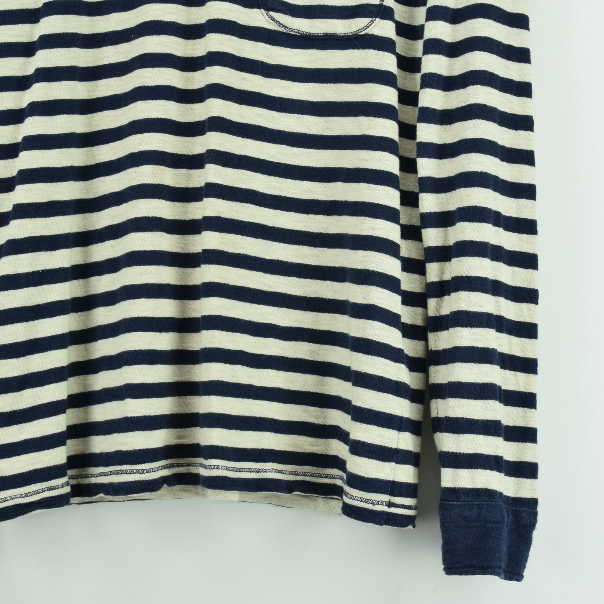 Vintage NN 07 Breton Striped Sailor's Long Sleeved Cotton T-shirt Top S / M front hem