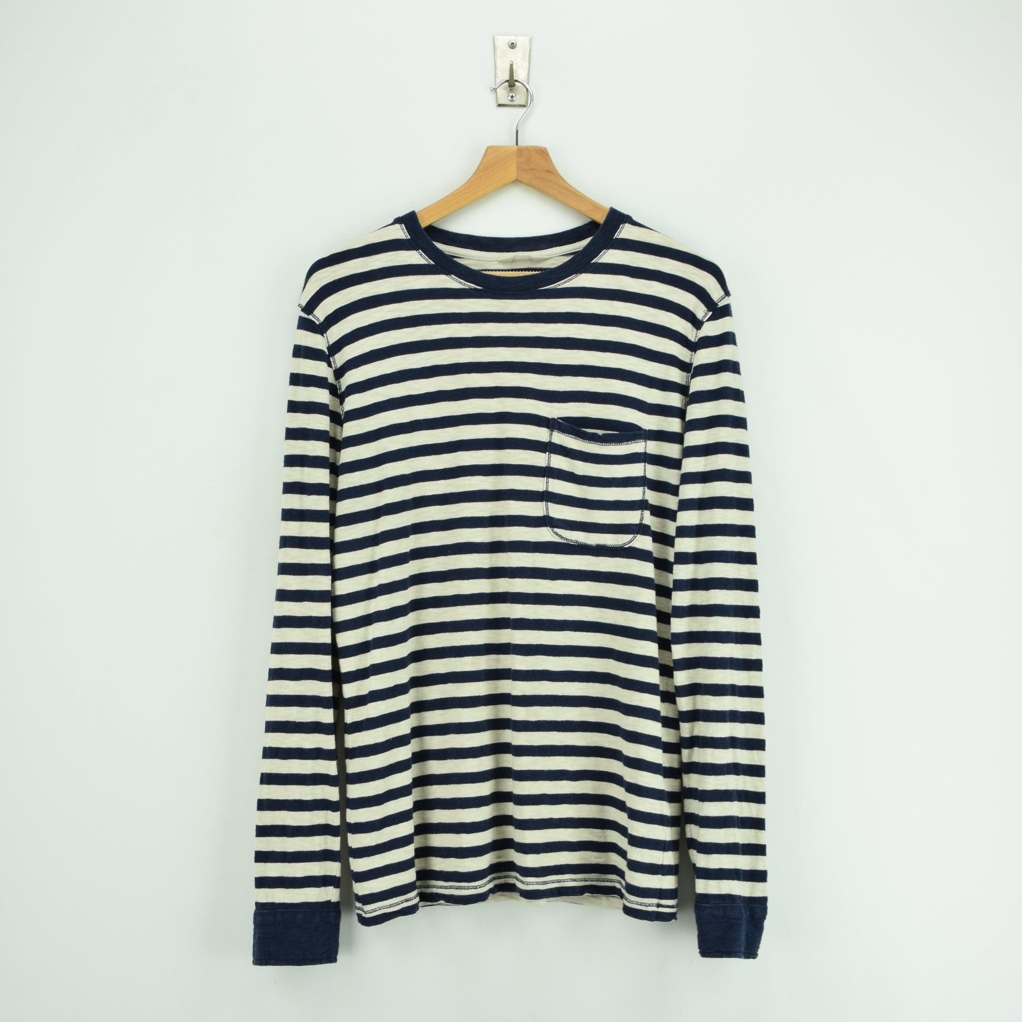 Vintage NN 07 Breton Striped Sailor's Long Sleeved Cotton T-shirt Top S / M front