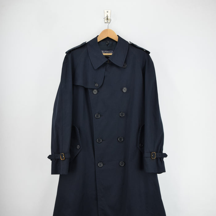 Vintage Burberrys Blue Cotton Blend Double Breasted Long Trench Coat L front