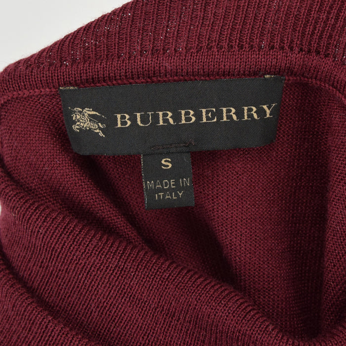 Burberry Merino Wool Leather Turtleneck Knitwear Jumper Made in Italy XS / S label