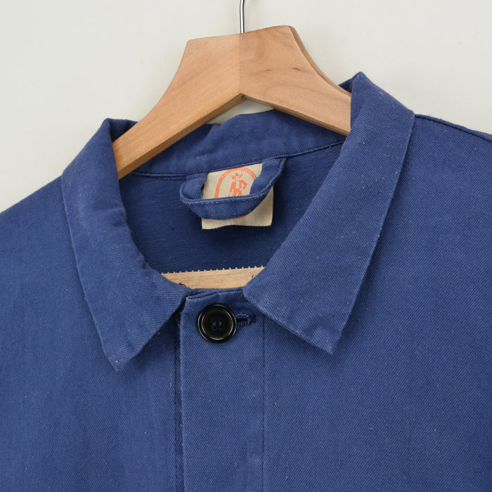 Vintage Washed Blue French Style Worker Sanforized Cotton Chore Jacket M collar