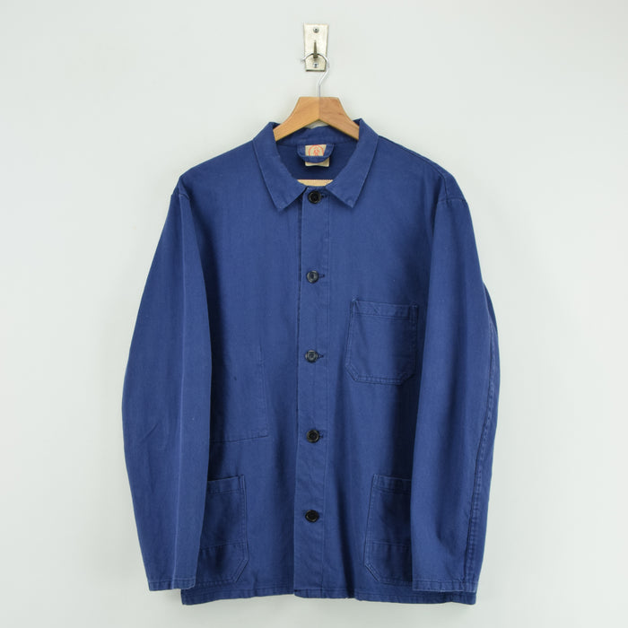 Vintage Washed Blue French Style Worker Sanforized Cotton Chore Jacket M front