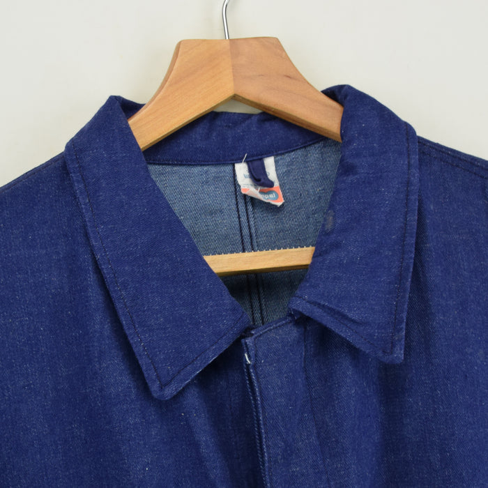 Vintage Indigo Blue Denim French Style Worker Sanforized Chore Jacket XL / XXL collar
