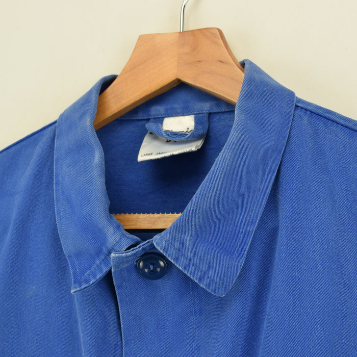 Vintage Washed Blue French Style Worker Sanforized Cotton Chore Shirt Jacket M collar