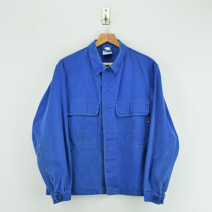 Vintage Washed Blue French Style Worker Sanforized Cotton Chore Shirt Jacket M FRONT
