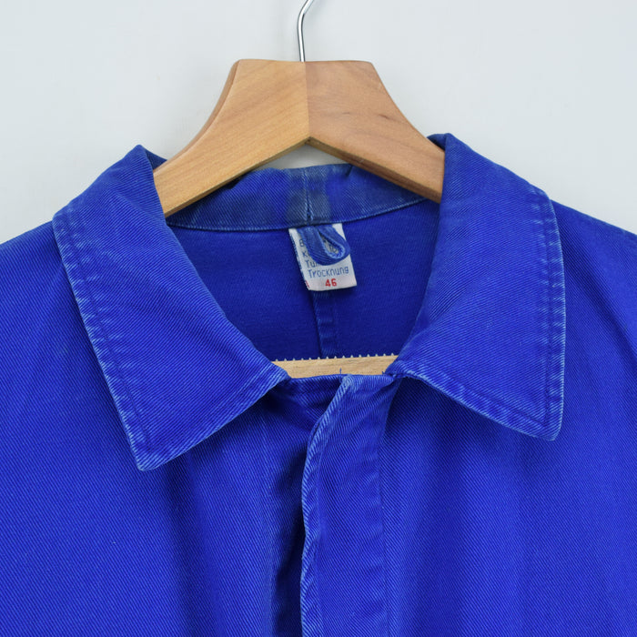 Vintage Bright Blue French Style 4 Pocket Worker Sanforized Chore Jacket S collar