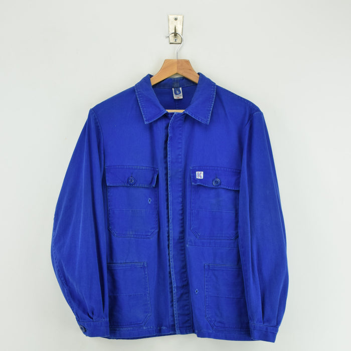 Vintage Bright Blue French Style 4 Pocket Worker Sanforized Chore Jacket S front