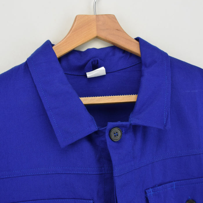 Vintage Bright Blue French Style 4 Pocket Worker Sanforized Chore Jacket XL collar