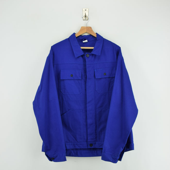 Vintage Bright Blue French Style 4 Pocket Worker Sanforized Chore Jacket XL front