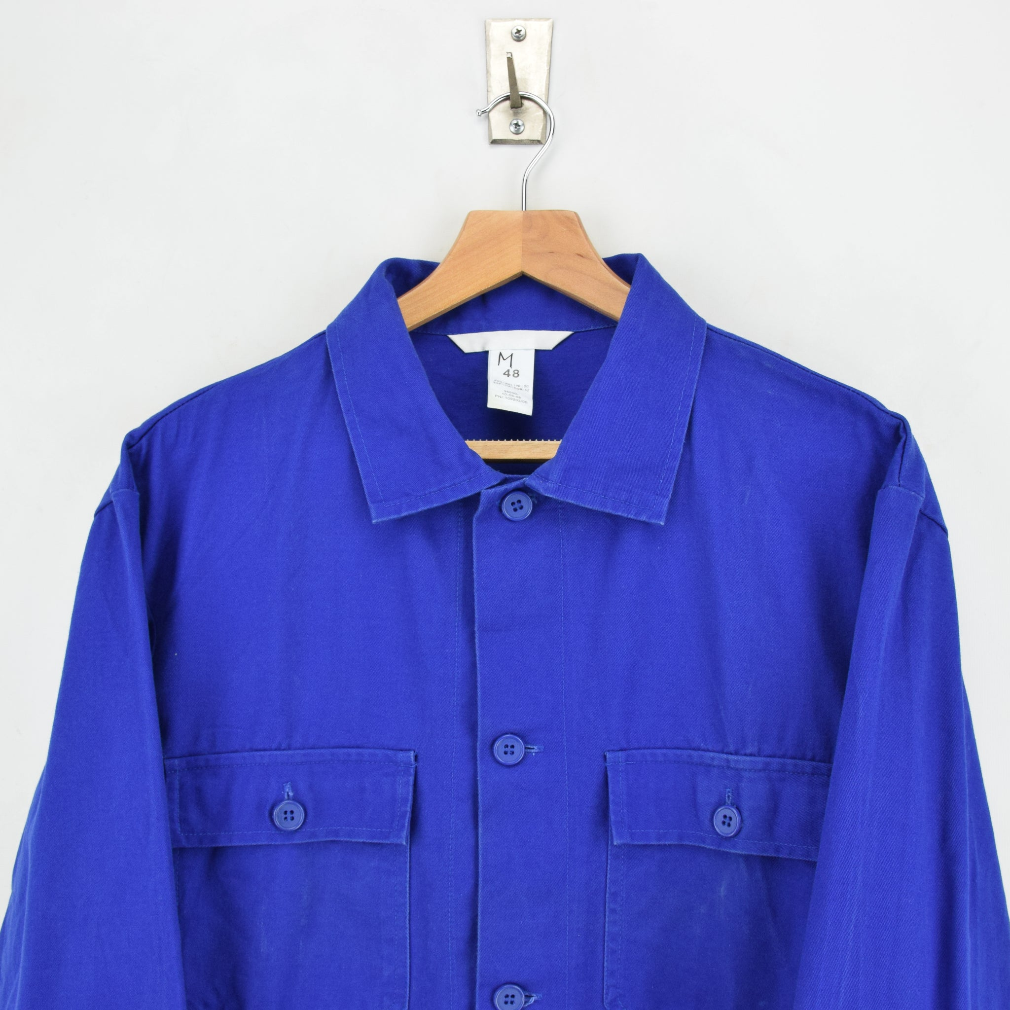 Vintage Bright Blue French Style Worker Sanforized Chore Shirt Jacket M / L chest
