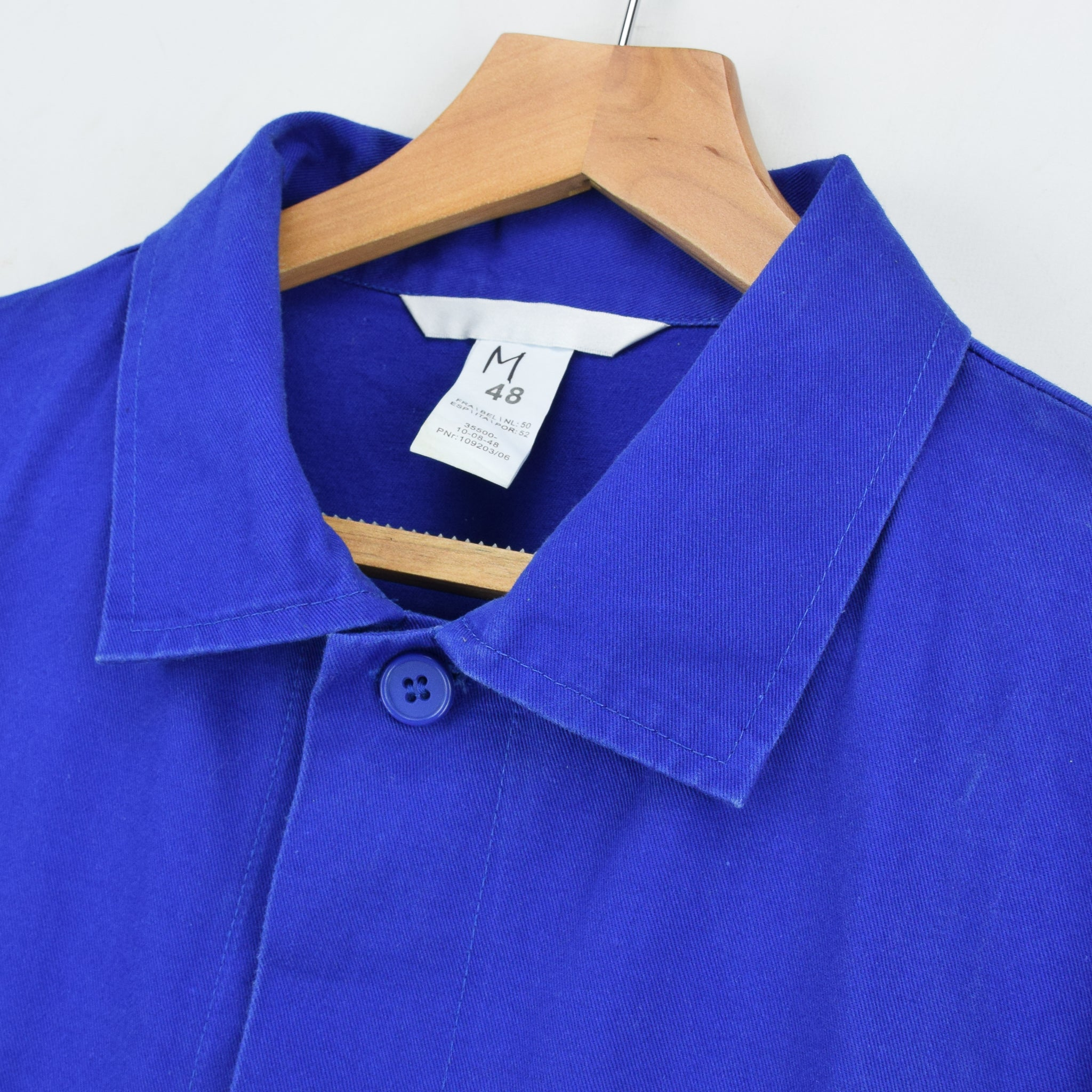 Vintage Bright Blue French Style Worker Sanforized Chore Shirt Jacket M / L collar