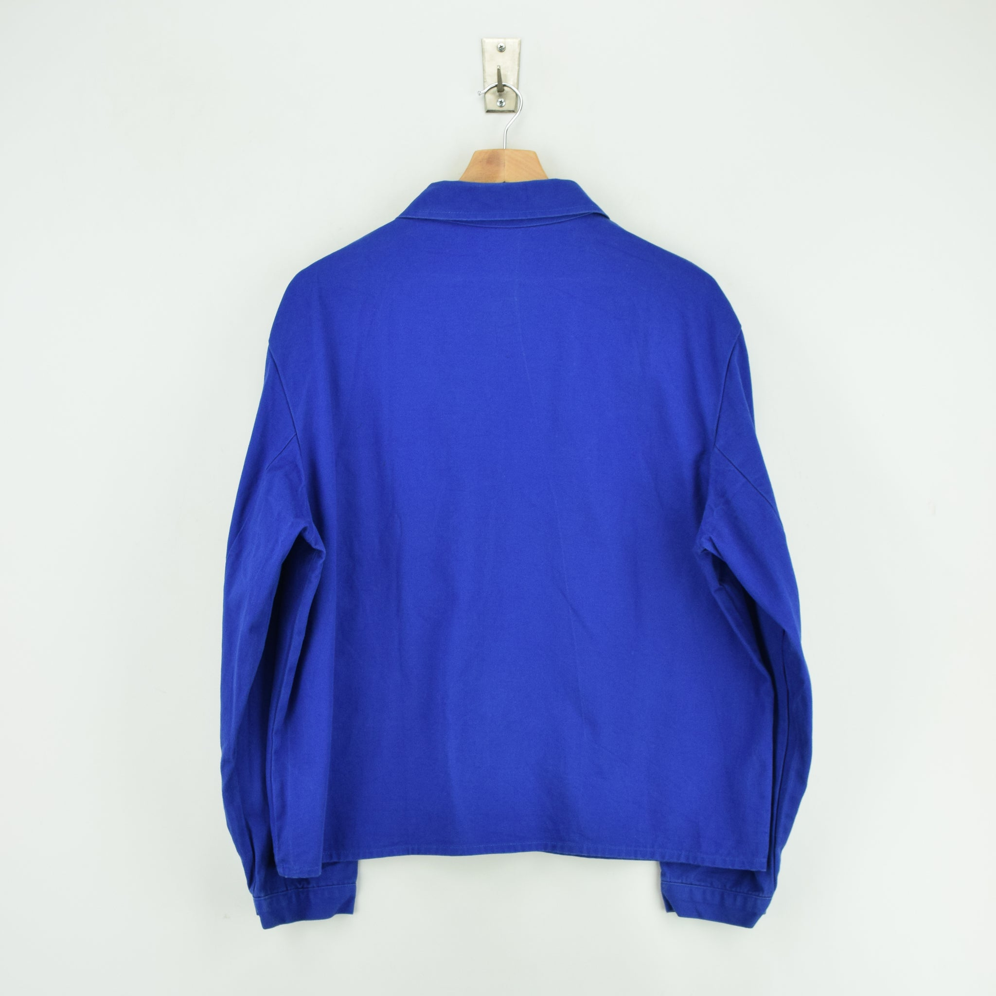 Vintage Bright Blue French Style Worker Sanforized Chore Shirt Jacket M / L back